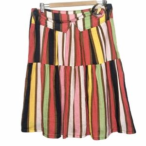 Oilily Striped Linen Tiered Circle Skirt Size 40